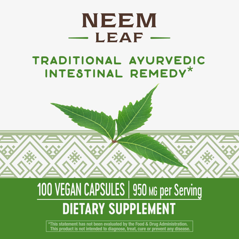 Nature's Way Premium Herbal Neem Leaf 475 mg, 100 Vcaps (Packaging May Vary)