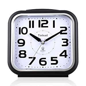 "5.5"" Silent Analog Alarm Clock Non Ticking, Gentle Wake, Beep Sounds, Increasing Volume, Battery Operated Snooze and Light Functions, Easy Set (Best for Elder)"
