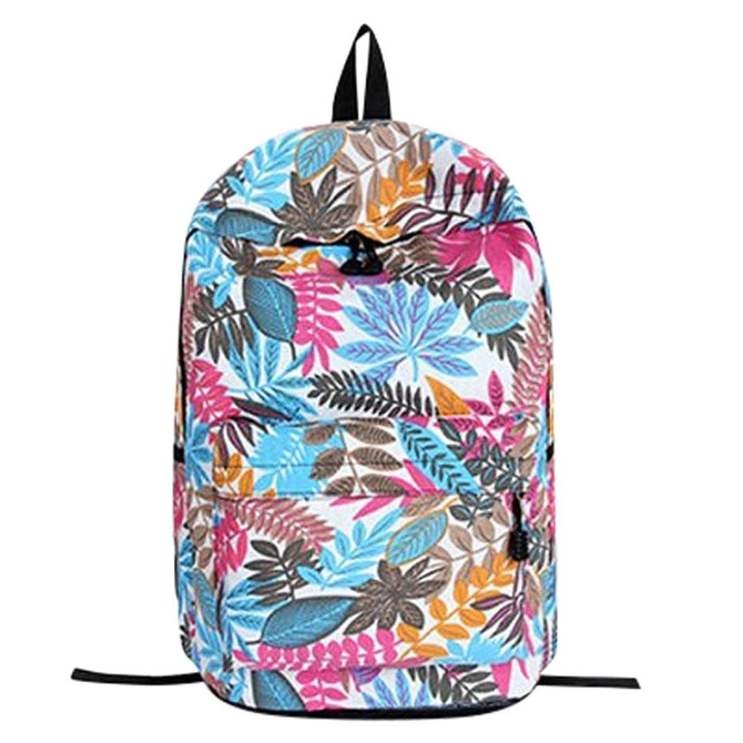 Leisure Backpack for Girls Teenage School Backpack Women Leaves Print Student Bag Bookbags (Beige)