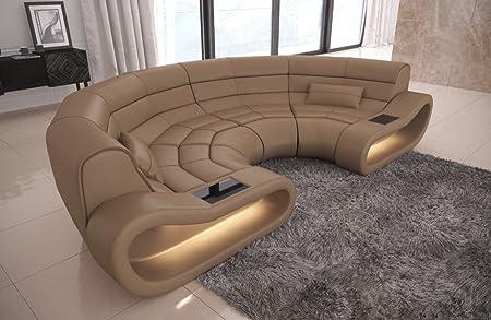 Divano In Pelle Beige.Bigsofa Concept Divano In Pelle Colore Beige Sabbia Amazon It