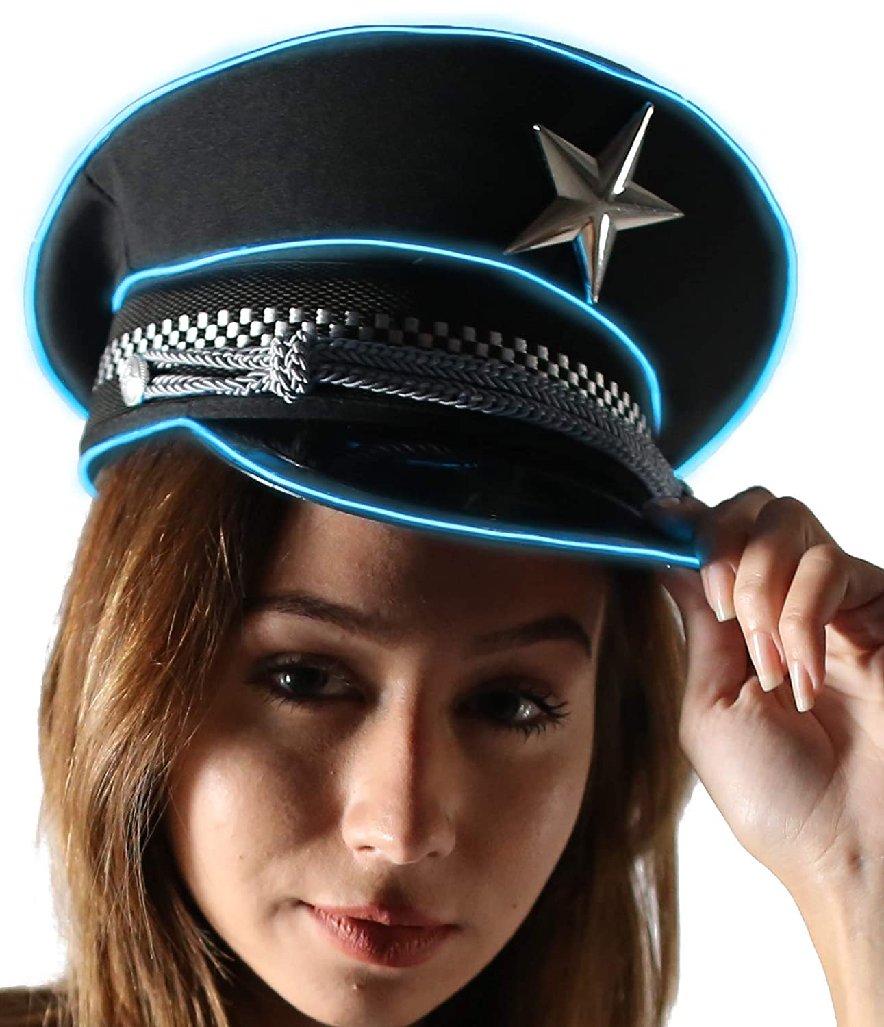 Amazon.com  Light Up Military General Hat El Wire (Blue)  Clothing b184f837289