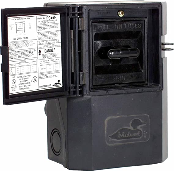 Midwest P065F Disconnect Switch, A/C, Fused Pull Out, 60A, 1PH, 240VAC,  10kA - - Amazon.comAmazon.com