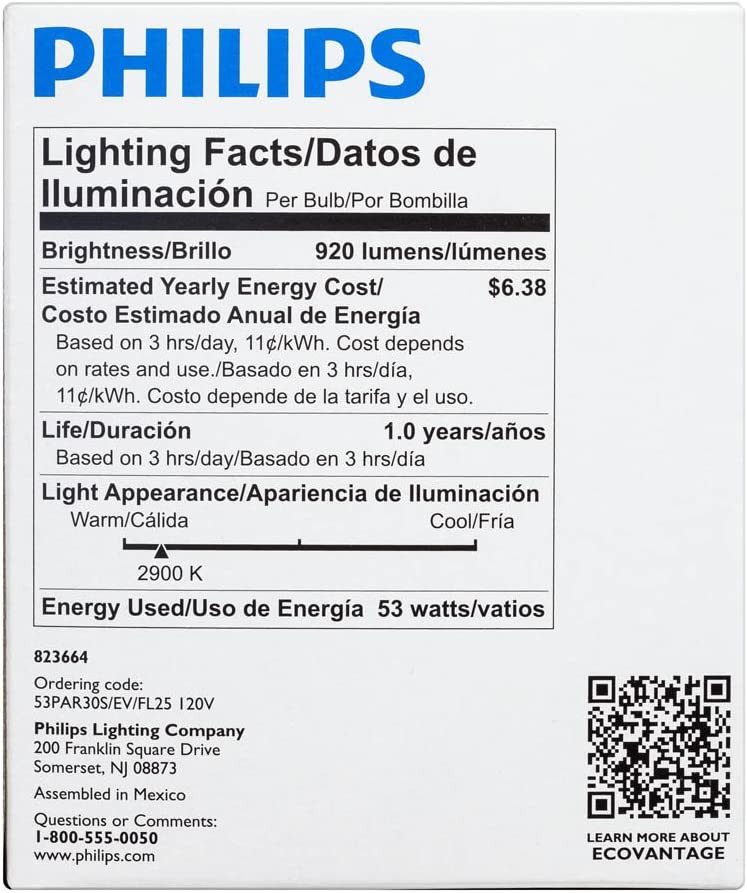 Philips 421438 53-watt PAR30S Dimmable EcoVantage Flood Light Bulb 6-Pack