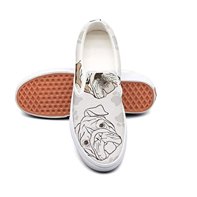 Amazoncom Womens Slip On Loafer Love English Bulldog Casual