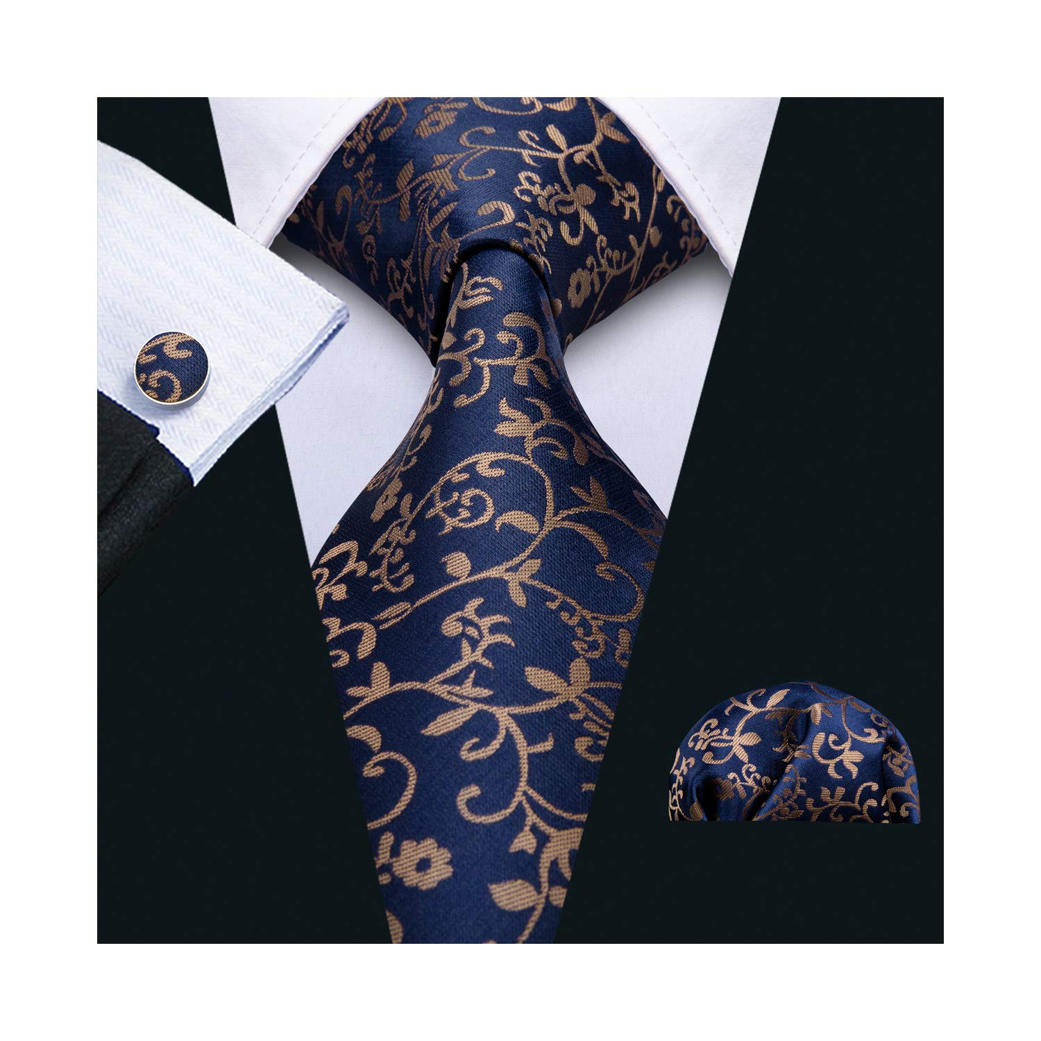 Woven Silk Ties Set Handkerchief Cufflinks Flower Neckties for Men