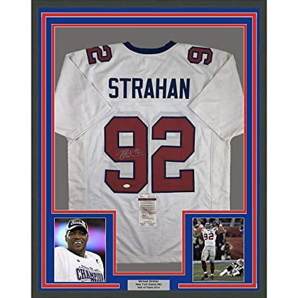 ff295548634 Autographed Michael Strahan Jersey - FRAMED 33x42 White COA - JSA Certified  - Autographed NFL Jerseys