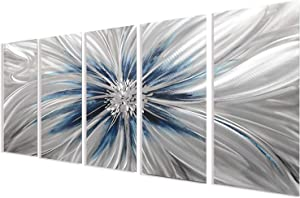 Metal Wall Art Decor Flowers for Living Room Bedroom Blue and Silver Modern Sculpture 3d Aluminum Artwork Set of 5 Panels For Home and Office