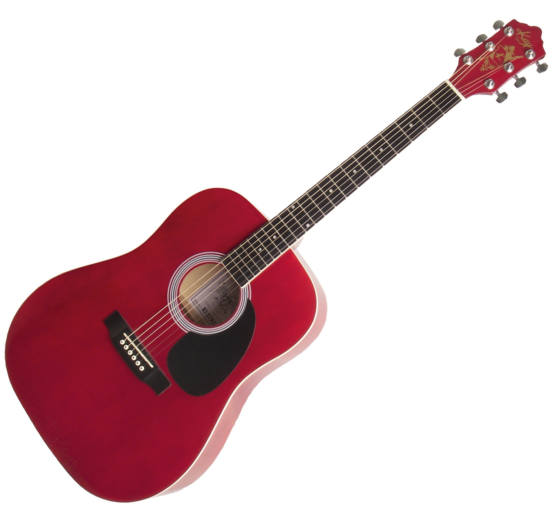 Kay Steel String Full Size Dreadnought 6 Red Cabernet Finish, Right Handed (K537RC) by Kay