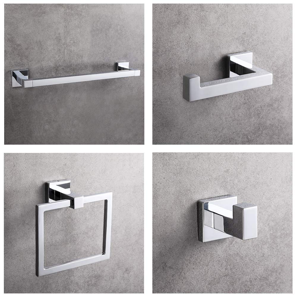 LUCKUP 4 Piece Bath Hardware Towel Bar Accessory, Includes Towel Bar, Robe Hook, Towel Ring, and Toilet Paper Holder, 304 Stainless Steel Wall Mounted,Polished Chrome … …