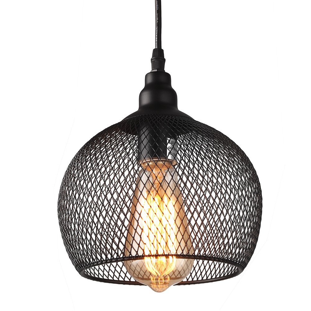 Amazon.com: LALUZ 3-Light Industrial Pendant Lighting Loft Wire Mesh ...