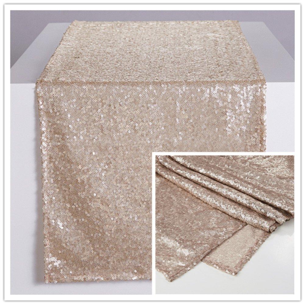 Zdada Sequin Table Runner Sparkly Metallic Sequin Runner for Wedding Party Dinner Reception-Champagne 12''x120''