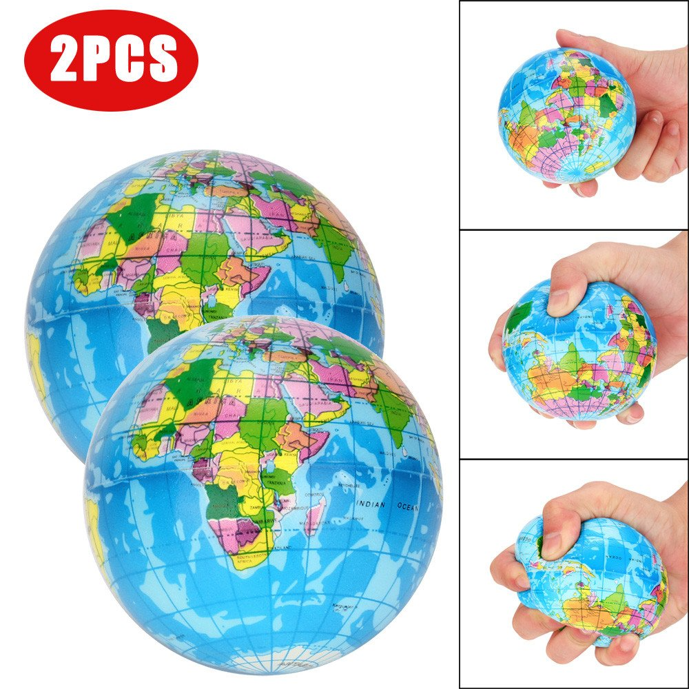Cyhulu 2Pcs World Map Jumbo Ball Atlas Globe Palm Ball Planet Earth Ball Squeeze Toys Kids Best Study Stress Relief Toys, Party Birthday Favors