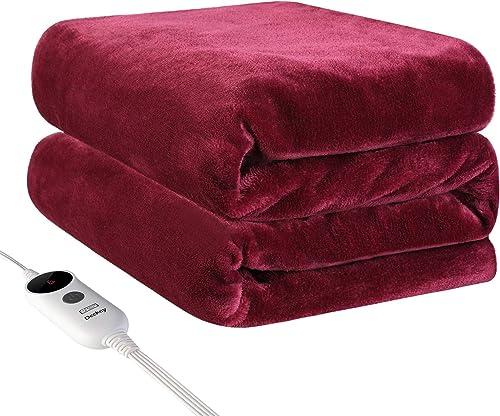 Deckey Electric Heated Blanket Throw 50 x 60 ,Heating Blanket Throw Electric,Fast Heating Blanket,6 Heat Setting