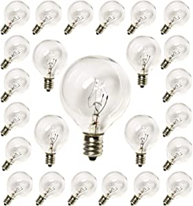 SUNSGNE 25 Pack G40 Replacement Bulbs 5W Clear Globe Bulbs 1.5-Inch String Light Replacement Bulbs for Indoor Outdoor Patio Decor- Fits E12/C7 Candelabra Screw Base Sockets