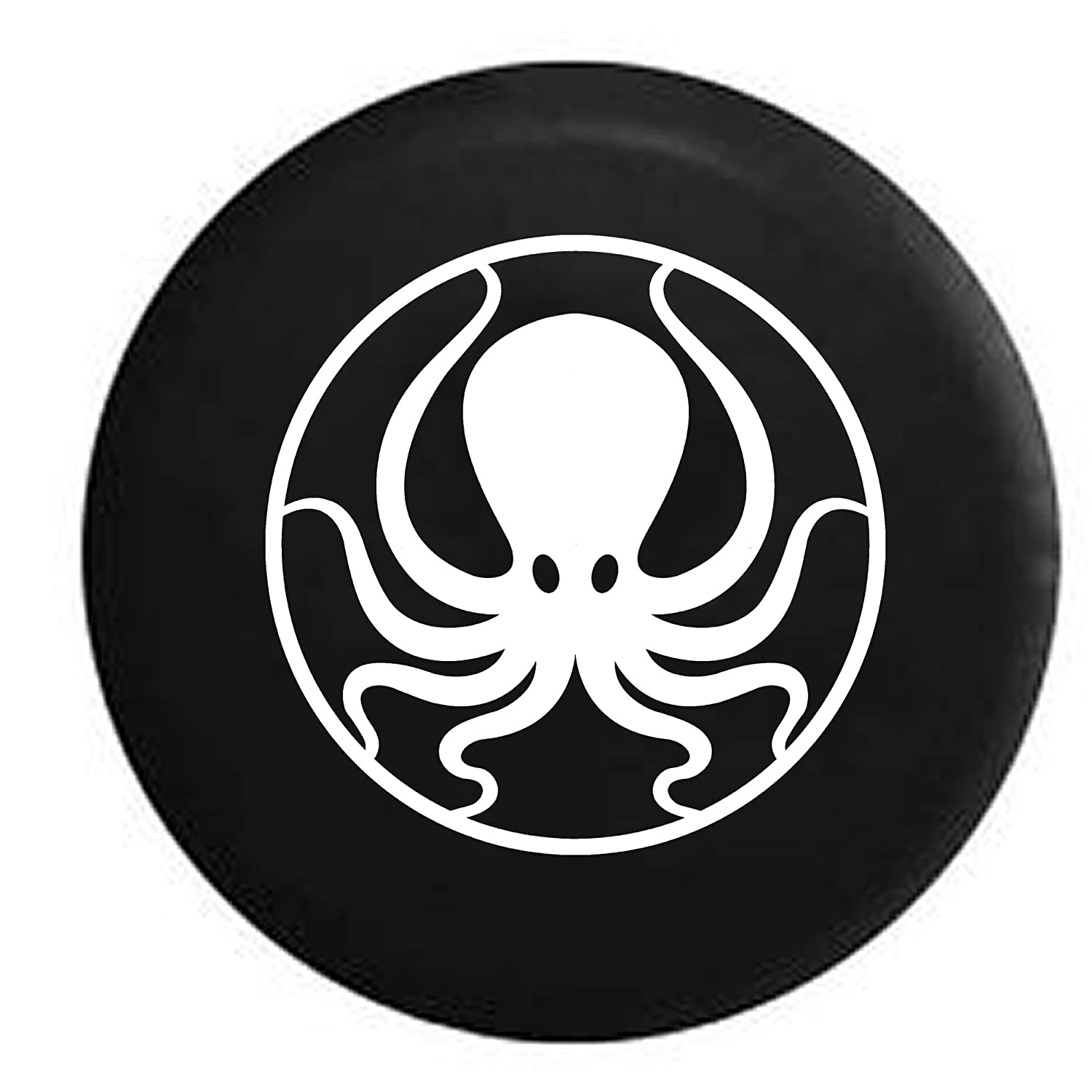 Octopus Kraken Squid Sea Ocean Life Jeep 4x4 Spare Tire Cover OEM Vinyl Black 32-33 in American Unlimited Gear 4350443501