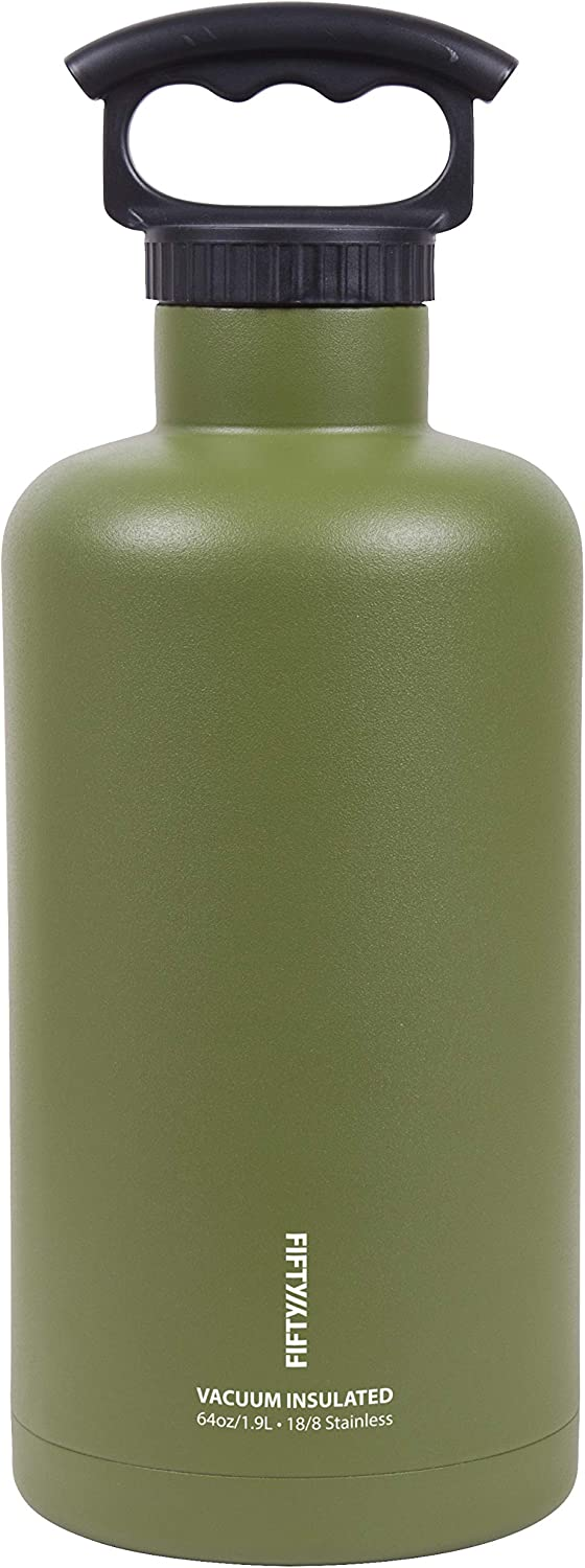 Fifty/Fifty Growler, Double Wall Vacuum Insulated Water Bottle, Stainless Steel, 3 Finger Cap w/ Standard Top, Olive Drabe, 64oz/1.9L