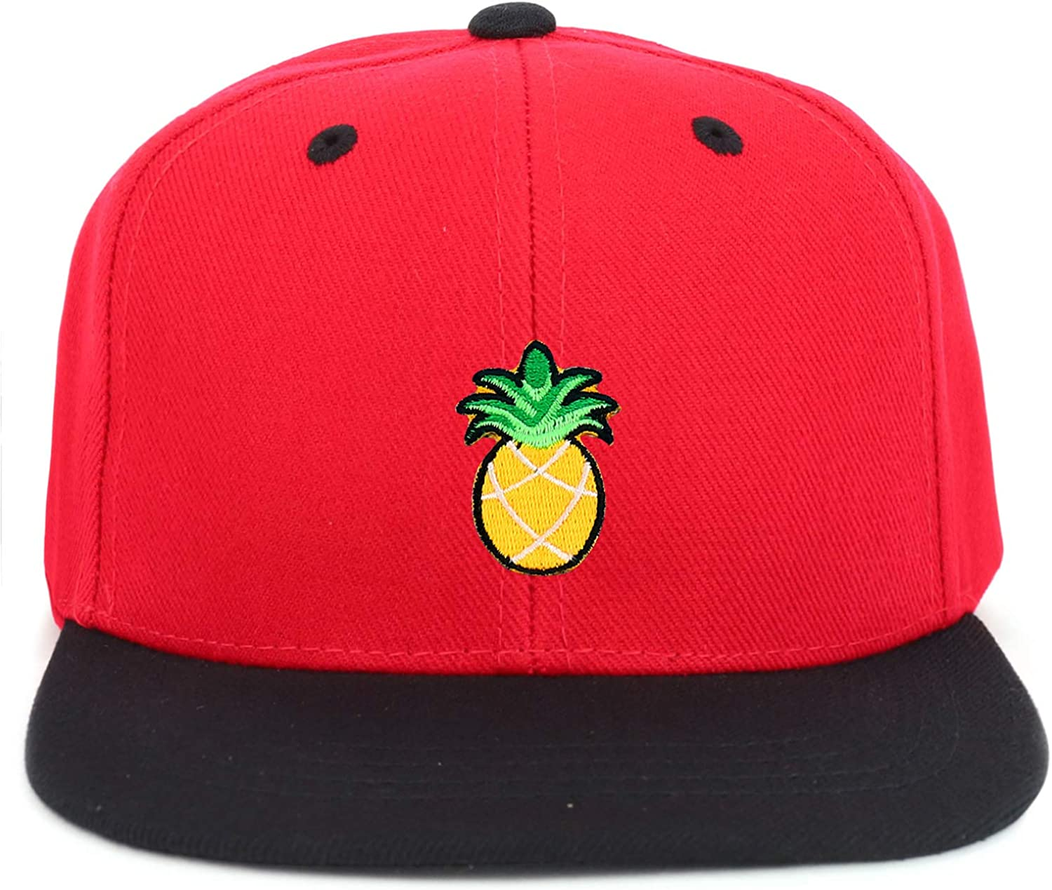 Armycrew Youth Kids Pineapple Patch Flat Bill Snapback 2-Tone Baseball Cap