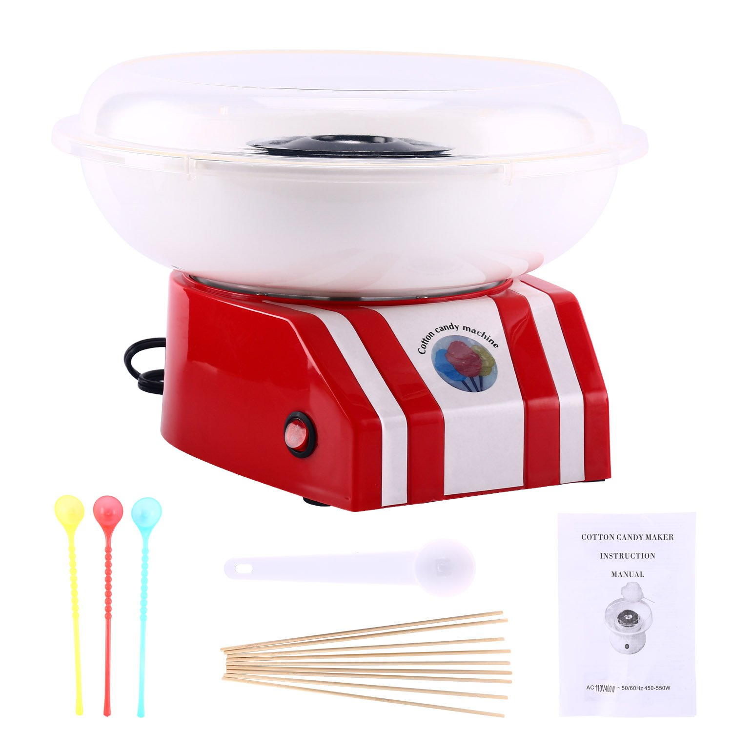 Homend Cotton Candy Machine Bright, Colorful Style- Makes Hard Candy, Sugar Free Candy, Sugar Floss, Homemade Sweets for Birthday Parties