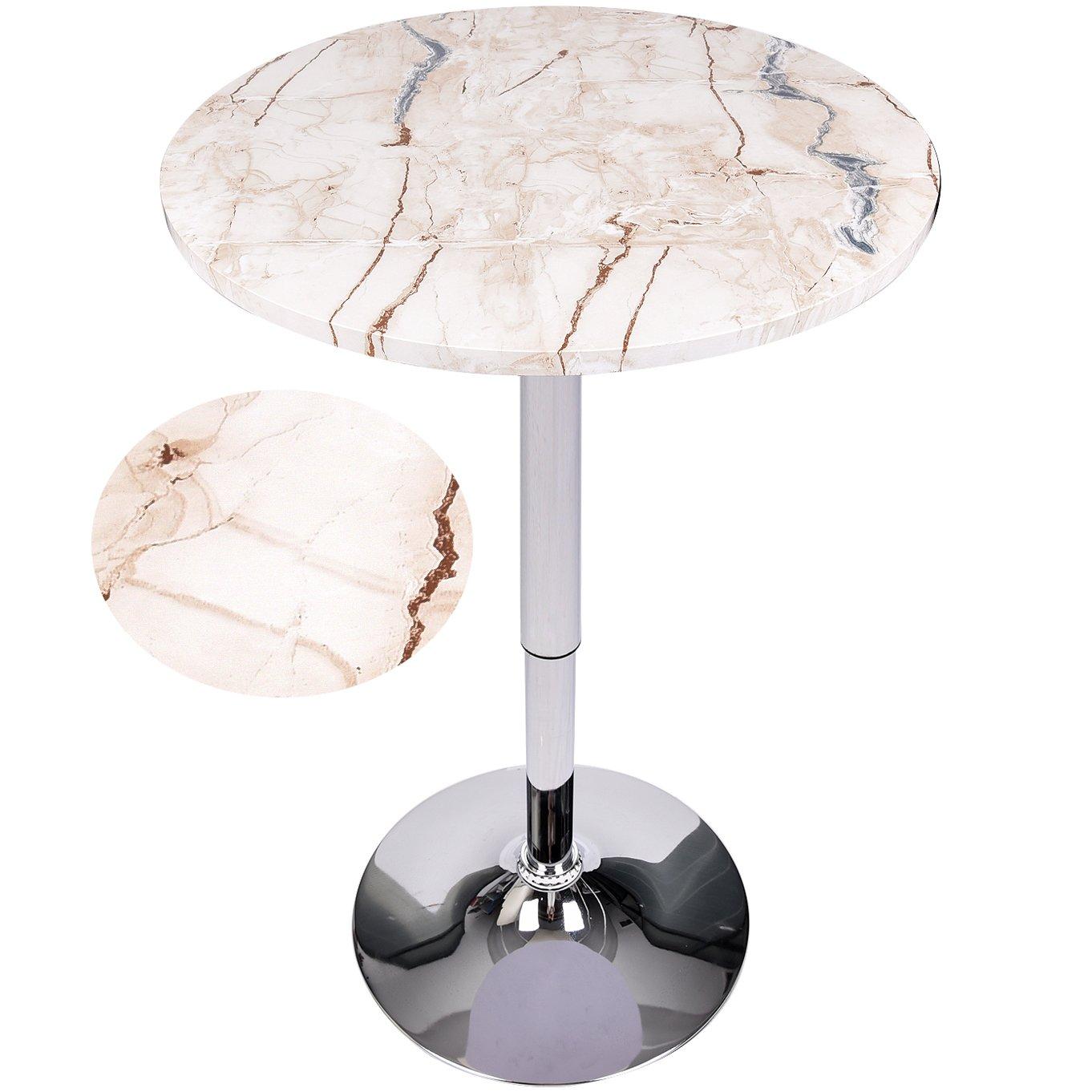 Elecwish Modern Round Bar Table Adjustable Bistro Pub Counter Wood Top Swivel Indoor (Marble)
