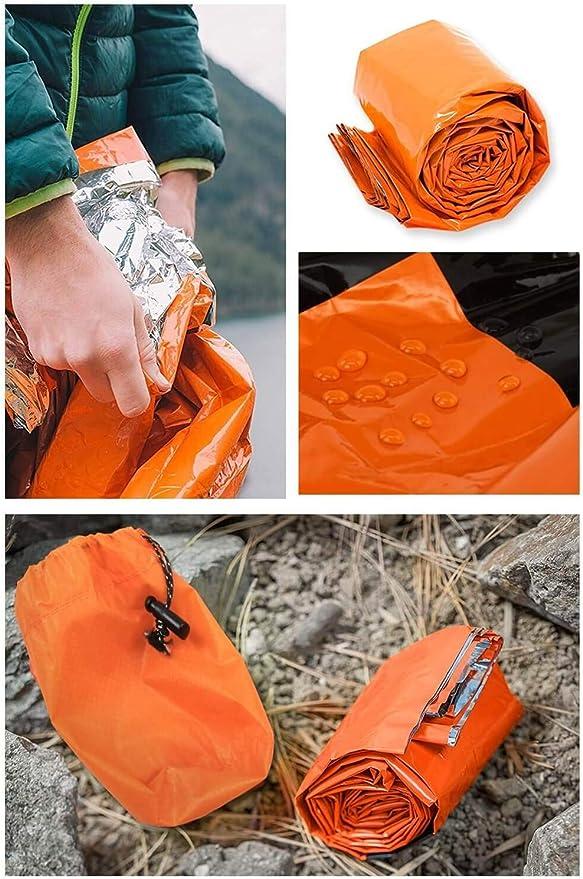 Saco Ligero de Emergencia Bivy Saco de Dormir Compacto de Supervivencia Manta t/érmica de Emergencia Impermeable Kitabetty Saco de Dormir de Emergencia para Exteriores Senderismo Camping 120/×200cm