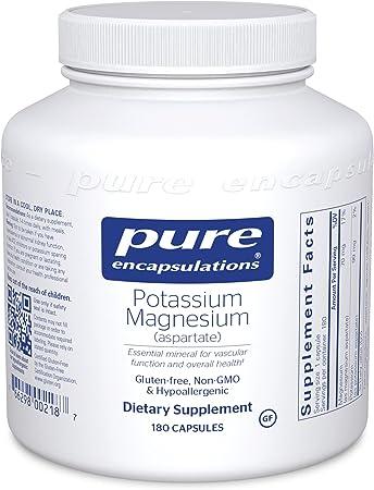 Pure Encapsulations Potassium Magnesium (Aspartate) | Supplement to Support Heart, Muscular, Bone, and Nerve Health* | 180 Capsules