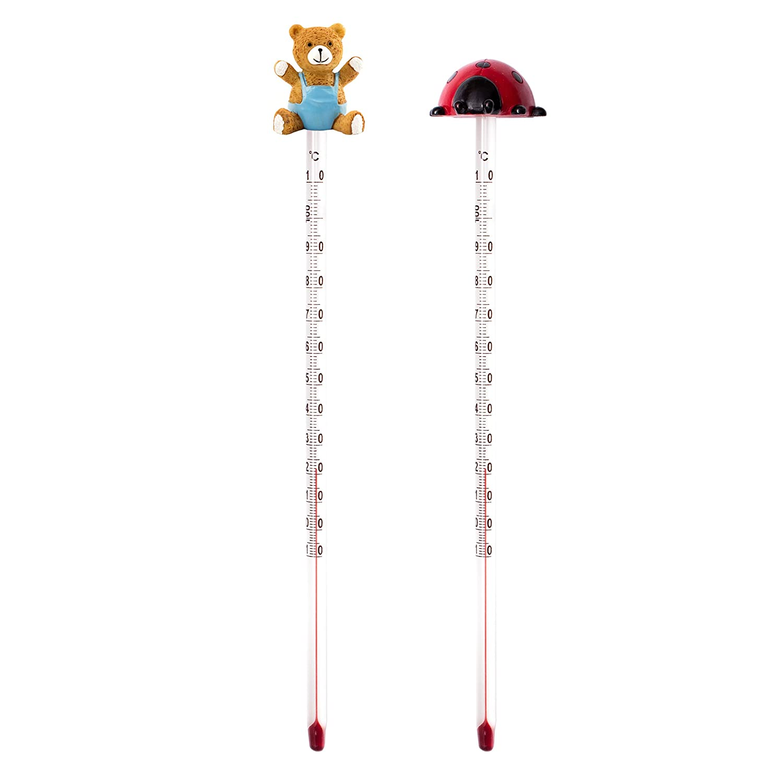 Lantelme 7179 - Termometro per biberon con orsetto e coccinella, analogico, per alimenti per bambini