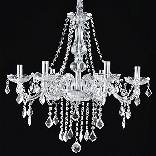 Boshen Crystal Candle Chandelier 6 Lights Fixture Pendant Ceiling Lamp for Dining Room Living Room Decoration with Chains