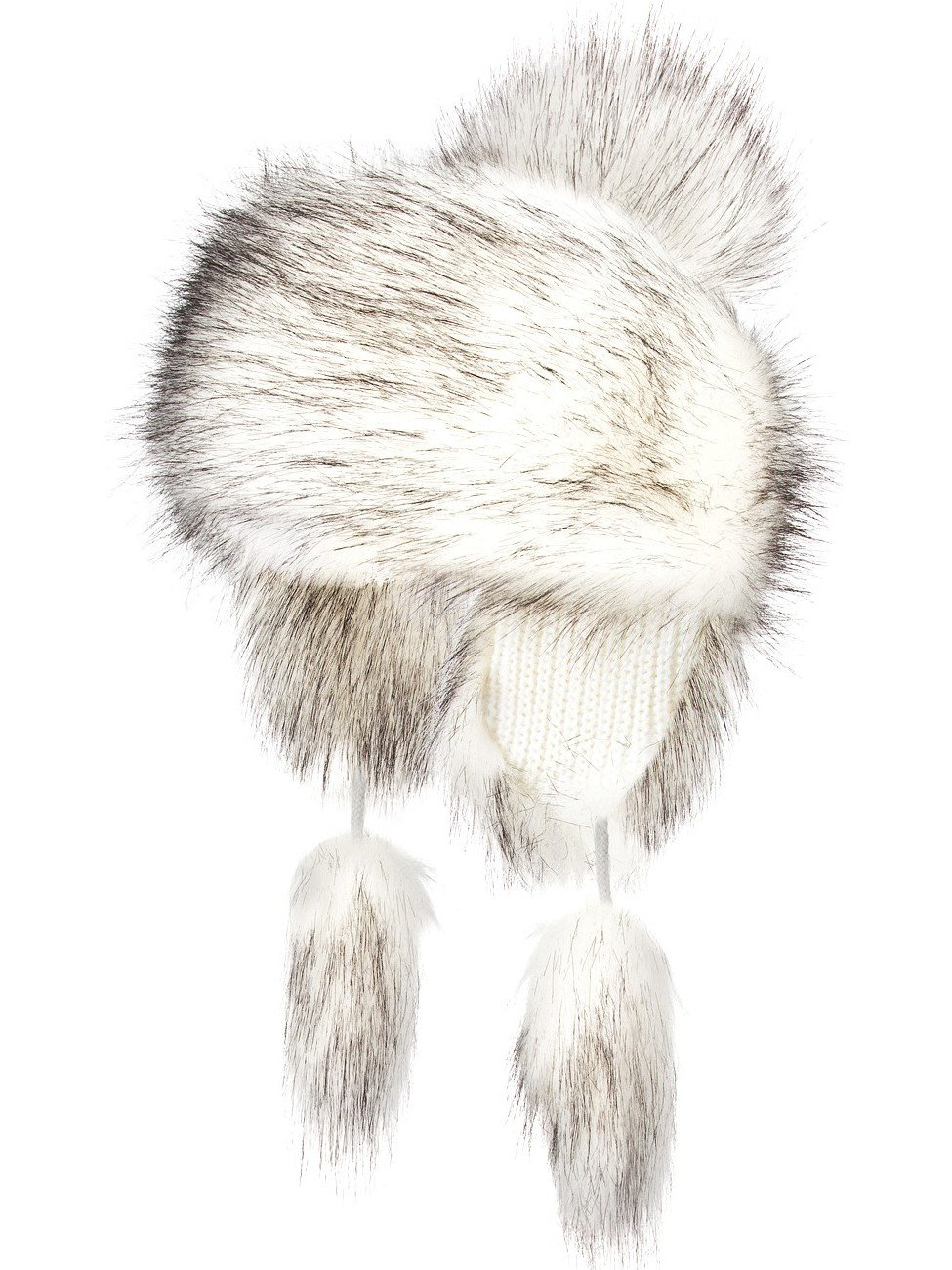 Futrzane Faux Fox Fur Winter Trapper Hat Women Russian Style Pompom (White with Black)
