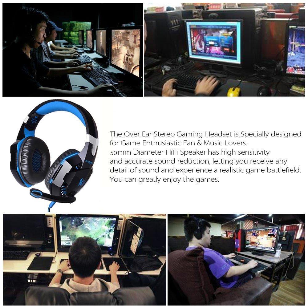 Bleu Andoer CHAQUE G2000 cours de loreille jeu Gaming Casque /écouteur avec microphone st/ér/éo subwoofer bandeau LED lumi/ère pour PC Game 1