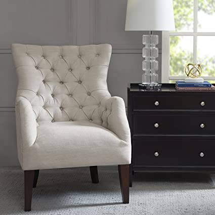 Madison Park Hannah Button Tufted Wing Chair   Ivory   See Below