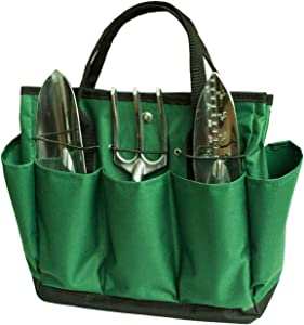 Pespirit Oxford Garden Tool Tote Bag - Gardening Storage Hand Organizer with 8 Pocket, Yard Lawn Portable Tool Handles Strap Carrier for Outdoor Garden Plant(Not Include Tools)
