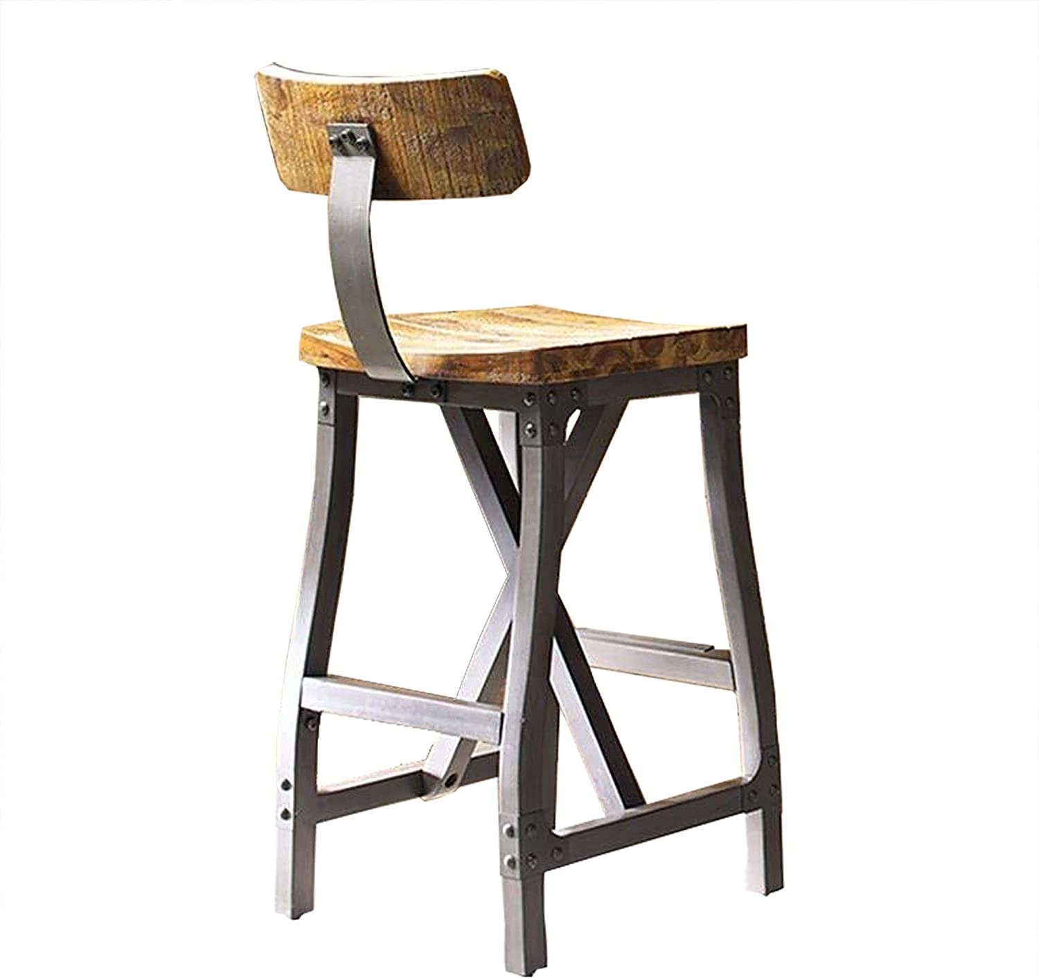 Amazon.com: Ink+Ivy Lancaster Bar Stools, Contour Wood Seat, Removable Backest Modern Industrial Bar-Height Kitchen Chair, Solid Hardwood, Metal Kickplate Footrest, Dining Room Accent Furniture, Amber: Home & Kitchen