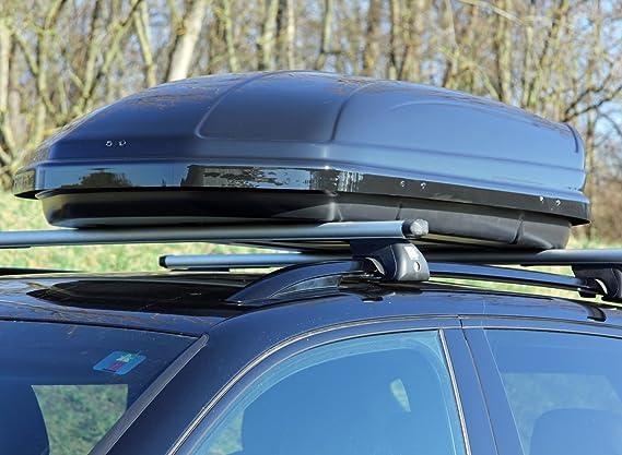 Relingtr/äger Dachgep/äcktr/äger aufliegende Reling im Set kompatibel mit Hyundai Santa Fe ab 2013 bis VDP Dachbox schwarz gl/änzend MAA320G g/ünstiger Auto Dachkoffer 320 Liter abschlie/ßbar
