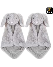 Security Blanket for Baby - Giftset of 2 Small Gray Bunny Rabbit blankies with washbag, Soft Plush Luxury snuggler, Perfect for Baby Shower, Newborn, Toddler Gift