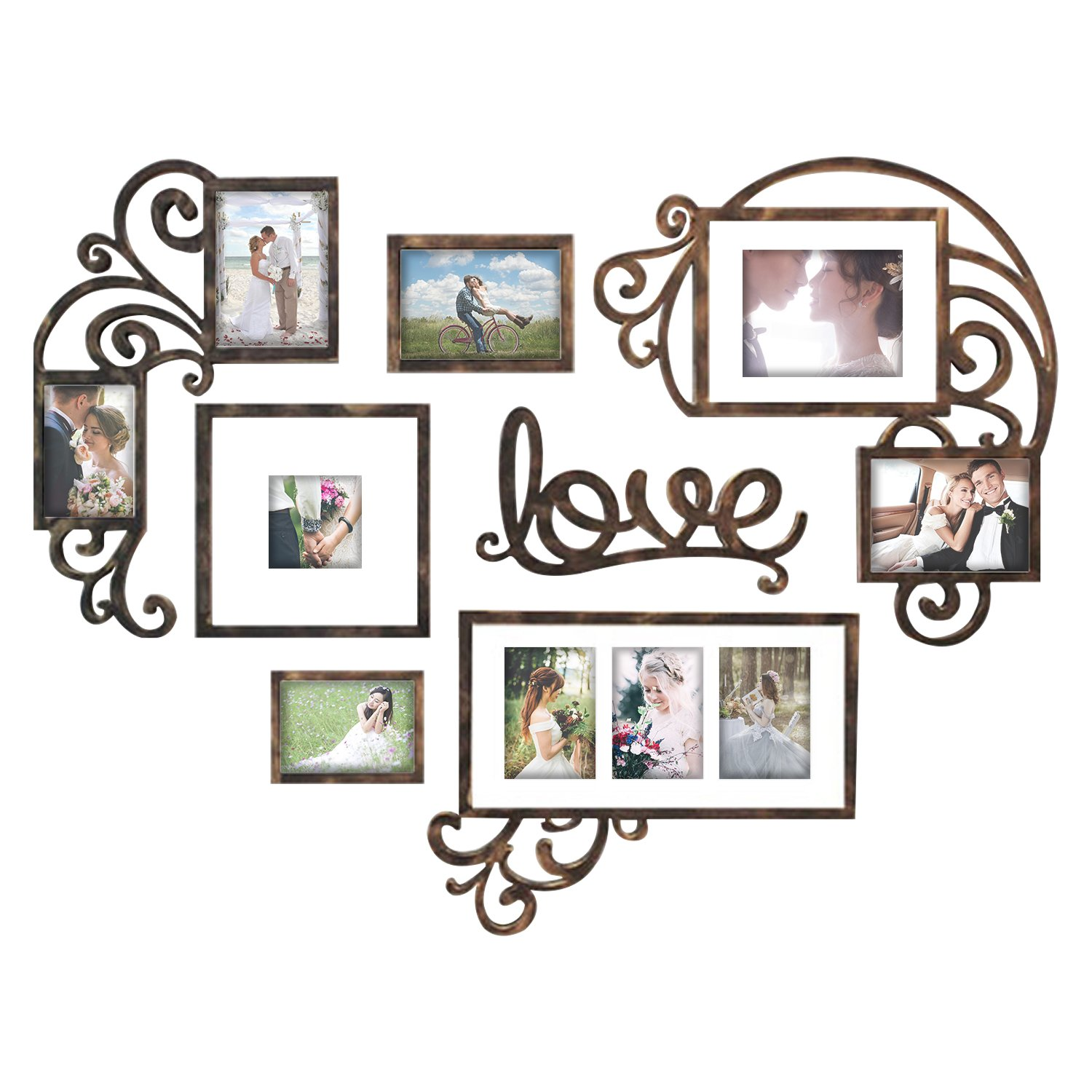 Hello Laura Heart Shape - Made to Display Three 4x6 Photos - Ready to Hang or Stand with Built in Easel by Hello Laura