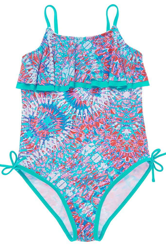 c226c3c269 Little  Big Girls one piece swimsuit with cute pattern and bright colors.  Kids swimwear features adjustable x-back straps for a great fit and support.