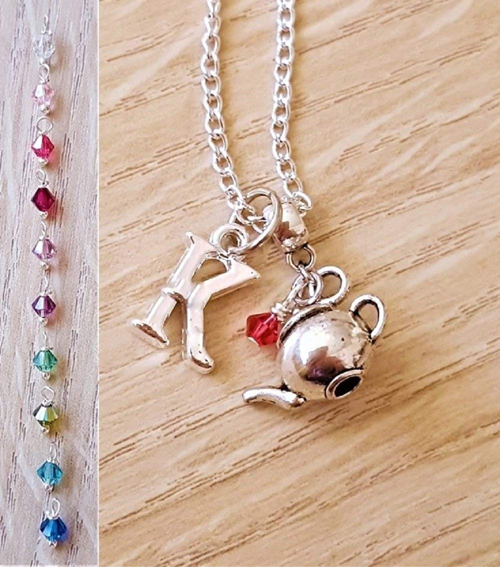 Handmade Personalised Initial Silver 3D Tea Pot Necklace with Genuine Crystal