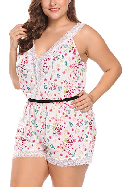 e9565573ee20 IN VOLAND Women s Plus Size Flower Print Cotton Chemise One Piece Pajama  Rompers Jumpsuit Playsuit Sleepwear L-4XL at Amazon Women s Clothing store
