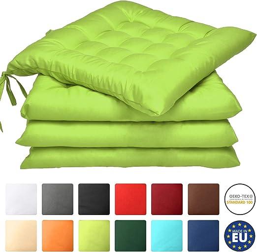 Beautissu Set 4 Lea - comodísimos Cojines para sillas - Vivienda o terraza - 40 x 40 x 5 cm - Verde Manzana: Amazon.es: Jardín
