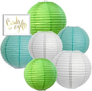 Andaz Press Hanging Paper Lantern Party Decor Trio Kit with Gold Party Sign, Diamond Blue, Kiwi Green, White, 6-Pack, for Boy's Baby Shower 1st Birthday Easter Classroom Office Decorations