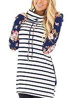 Uideazone Women's Casual Striped Floral Printed Long Sleeve Pullover Hoodie Sweatshirt