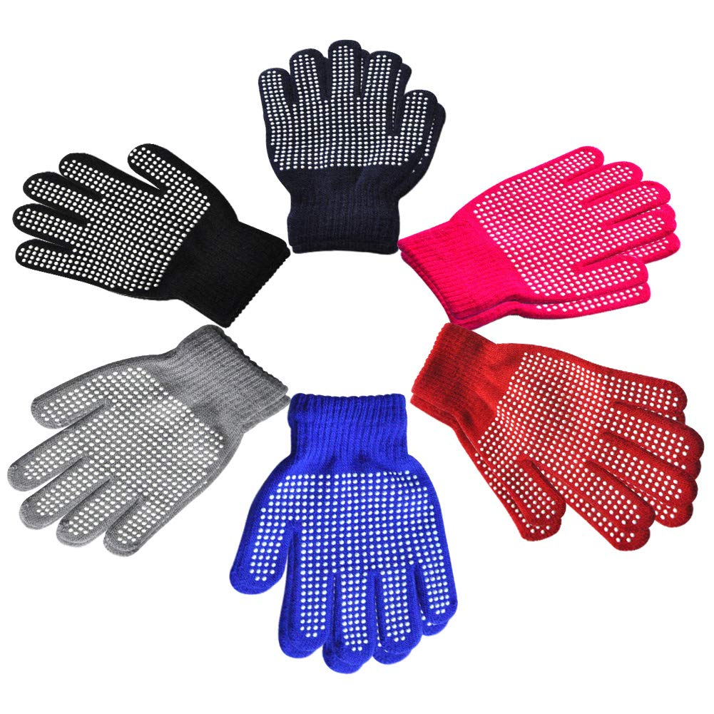 Children Anti-skid Magic Glove 6 Pairs Set Kids Magic-Stretch Gripper Gloves Winter Warm Full Finger Knitted Stretchy Gloves for Boys or Girls