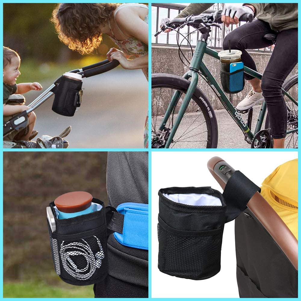 Portabicchieri Passeggino Isolato Universale Portabicchieri Bici Borsa per Telefono e Chiave Resistente Acqua e al Gocciolamento per Passeggini Biciclette Sedie a Rotelle e Carrelli Spesa