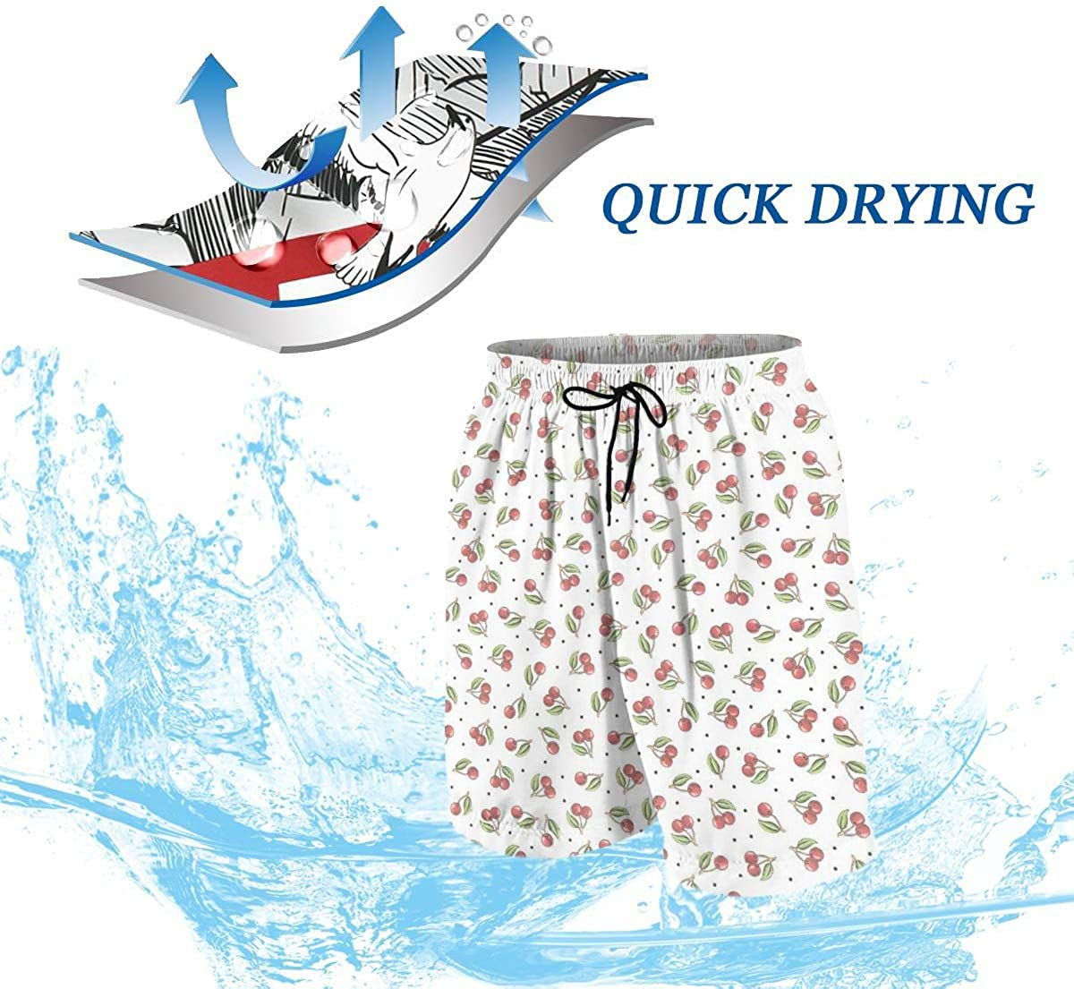 Kidhome Teenagers Boys Beach Board Shorts Small Cherry Summer Drawstring Beach Shorts Swim Trunks with Pockets for Teen Boys