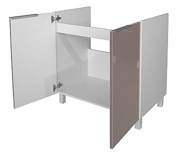 berlenus ce8bt meuble bas de cuisine sous evier taupe haute brillance 80 x 52 x