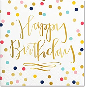 Creative Brands Slant Collections-20-Count Paper Beverage/Cocktail Napkins, 5 x 5-Inch, Happy Birthday
