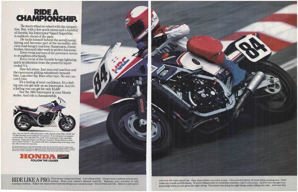 1985 Vintage Magazine Advertisement Honda 1985 Interceptor