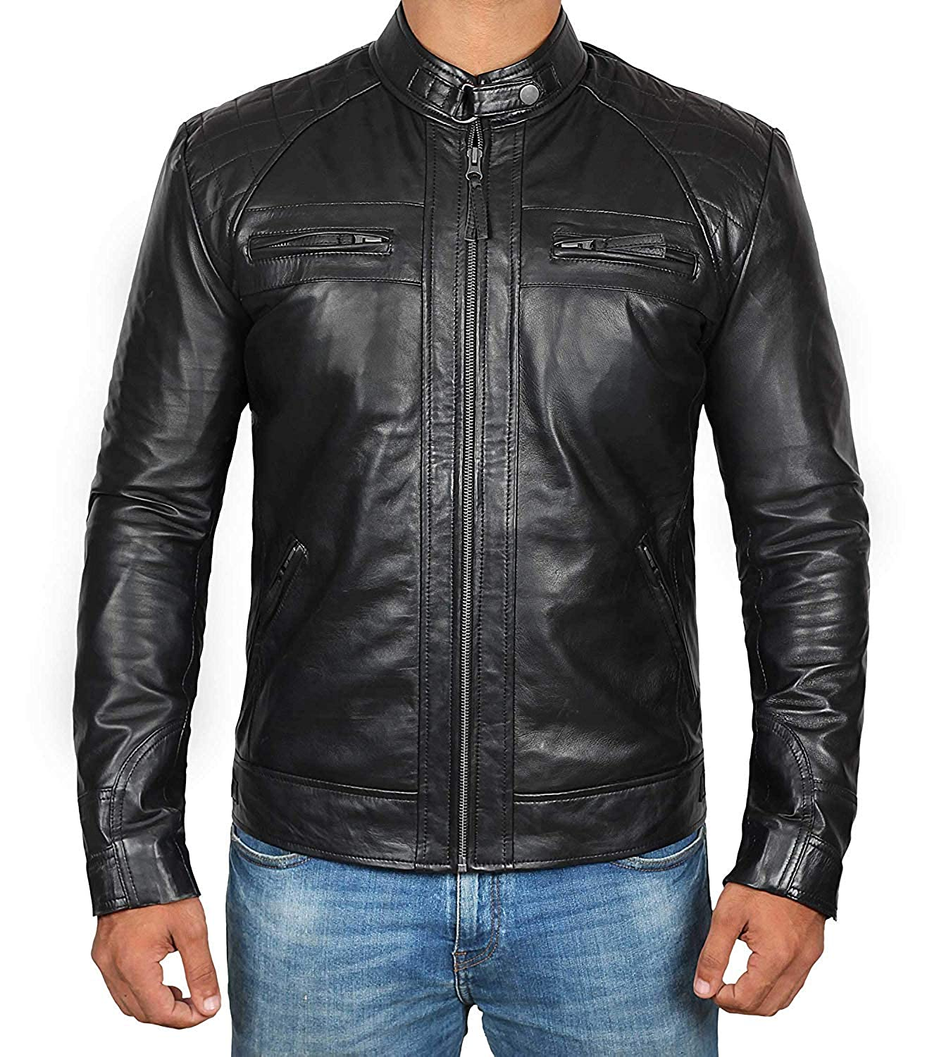 f36ed5761 Mens Leather Jacket for Biker - Distressed Genuine Lambskin Brown Leather  Jacket Men