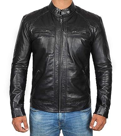 1e918566b Mens Leather Jacket for Biker - Distressed Genuine Lambskin Brown Leather  Jacket Men