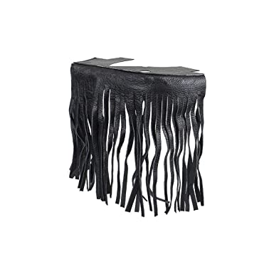 Black Leather Motorcycle Floor Boards With Fringe Passenger Position